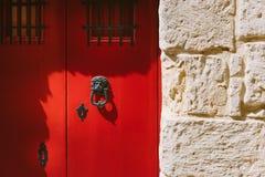 Traditional maltese door. With lion head door knocker Stock Images