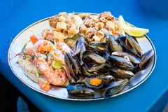 Maltese seafood and fish platter. Traditional maltese fish and seafood platter set mix of calamari rings in tempura, giant shrimps, clams, fish fillets and Royalty Free Stock Image