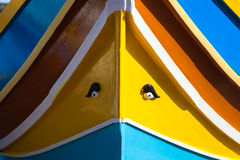 Traditional Maltese fishing boat. Close up of traditional Maltese colorful boat in Marsaxlokk village Royalty Free Stock Photography