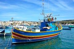 Traditional Maltese fishing boat, Marsaxlokk. Royalty Free Stock Photography