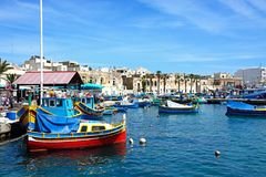 Traditional Maltese fishing harbour, Marsaxlokk. Stock Images