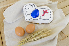 Traditional Maltese food for Easter. Sweet pastry figolla with Easter symbols Royalty Free Stock Photos
