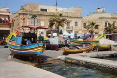 Maltese fishing boats. Marsaxlokk. Stock Images