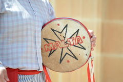 Traditional Maltese Music Instrument. Folklore Music in the Strawberry Festival, Mggar Royalty Free Stock Photography
