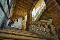 Traditional Maltese staircase in an old palazzo stock images