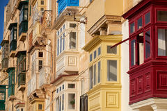 A traditional Maltese style balconies. Valletta. Royalty Free Stock Photography