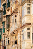 A traditional Maltese style balconies. Valletta. Stock Photos