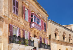 A traditional Maltese style openwork balconies on one of the res Royalty Free Stock Images