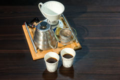 Traditional, manual filter coffee set Royalty Free Stock Images