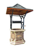 Traditional manual water well with metallic roof isoalted over w Royalty Free Stock Photography