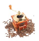Traditional manual wooden coffee grinder isolated Stock Photos