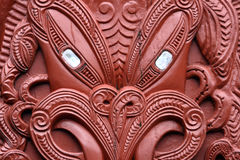 Traditional maori carving, New Zealand.  royalty free stock images
