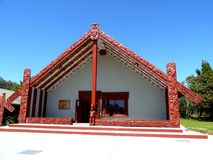 Traditional Maori food house wooden carved with decoration new zealand Royalty Free Stock Photos