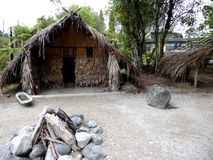 Traditional Maori food house wooden carved with decoration new zealand Royalty Free Stock Photography
