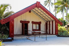 A traditional Maori Meeting house. Honolulu, Hawaii - May 27, 2016: A traditional Maori Meeting house inside the Aotearoa village at the Polynesian Cultural Royalty Free Stock Photography