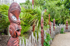 Traditional Maori village. Recreated historical Maori village, New Zealand royalty free stock image