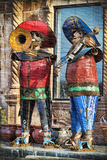 Traditional Mariachi Band In Tin. Theseare life size heavy tin art pieces of Mariachi musicians in wonderful colors stock photo