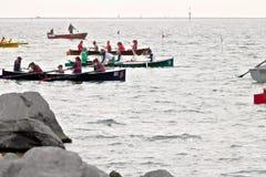 La Spezia, Liguria, Italy. 03/17/2019. Palio del Golfo. Women crew. Traditional maritime regatta royalty free stock image