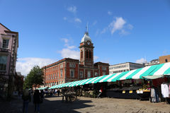 Traditional market in an english town. Market stalls in Chesterfield market place in Derbyshire UK royalty free stock image