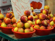 Traditional Market Fruits and Vegetables, peach royalty free stock photos