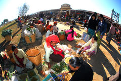 Traditional market at Inle lake. Stock Photo