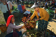 Traditional market at Inle lake. Royalty Free Stock Photography