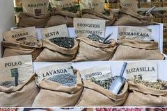 Traditional market of medicinal plants. Granada, Spain royalty free stock image