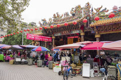 Traditional market near WunChang Temple. Taipei, DEC 28: Traditional market near WunChang Temple on DEC 28, 2016 at Taipei, Taiwan royalty free stock photos