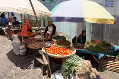 Traditional Marketplace with local fruit in Tomohon City Stock Images