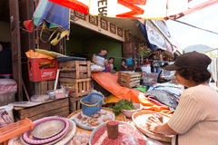 Traditional Marketplace with local fruit in Tomohon City Royalty Free Stock Image