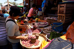 Traditional Marketplace with local vegetable in Tomohon City Royalty Free Stock Photography