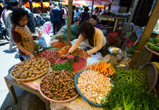 Traditional Marketplace with local vegetable in Tomohon City Stock Photo