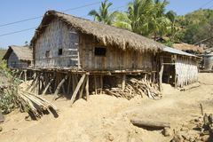 Traditional Marma hill tribe building exterior, Bandarban, Bangladesh. Royalty Free Stock Image
