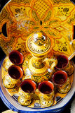 Traditional maroccan pot. And cups Stock Images