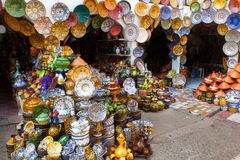 Traditional maroccan pottery. Traditional maroccan potery at the market Stock Photo