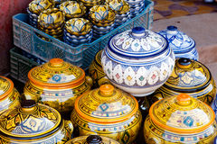 Traditional maroccan pottery. Traditional maroccan potery at the market Royalty Free Stock Photos