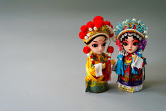 Traditional married Chinese dolls isolate on gray background Stock Images