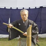 Traditional martial arts performance in Tokyo old man sword Royalty Free Stock Image