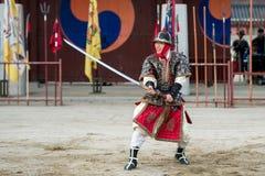 Traditional Martial Arts Trial Performance, December 23, 2016, Gyeonggi-do, Suwon-si, South Korea royalty free stock image
