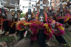 Traditional mask dancers in Dogon Village Mali. Mask dancers in the village of Tireli , Dogon country Royalty Free Stock Photography