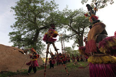 Traditional mask dancers in Dogon Village Mali. Mask dancers in the village of Tireli , Dogon country Stock Photos