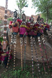 Traditional mask dancers in Dogon Village Mali Royalty Free Stock Photos
