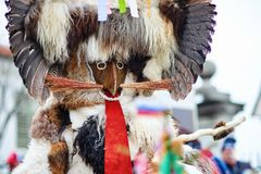 Colorful face of Kurent, Slovenian traditional mask. Traditional mask used in februar for winter persecution, carnival time, Slovenia. Roots draws from the Stock Photography