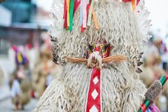Colorful face of Kurent, Slovenian traditional mask. Traditional mask used in februar for winter persecution, carnival time, Slovenia. Roots draws from the Royalty Free Stock Photos