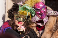 Traditional masked couple. In venice during carnival Royalty Free Stock Image