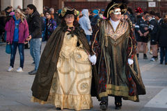 Traditional masked couple. In venice during carnival Royalty Free Stock Photo
