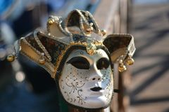 Traditional masks for carnival. Disturbing masks for nightmares dreams and carnival stock photos