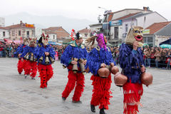 Traditional masks carnival on the occasion of the Orthodox forgiveness holiday Prochka in city of Prilep ,Macedonia. February 26, 2017 Stock Photos