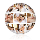 Traditional massage collage. Royalty Free Stock Photography