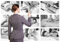Traditional massage collage. Stock Photo